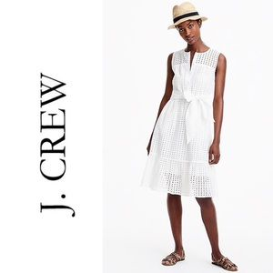 J. Crew All Over Eyelet Dress In White Size 12